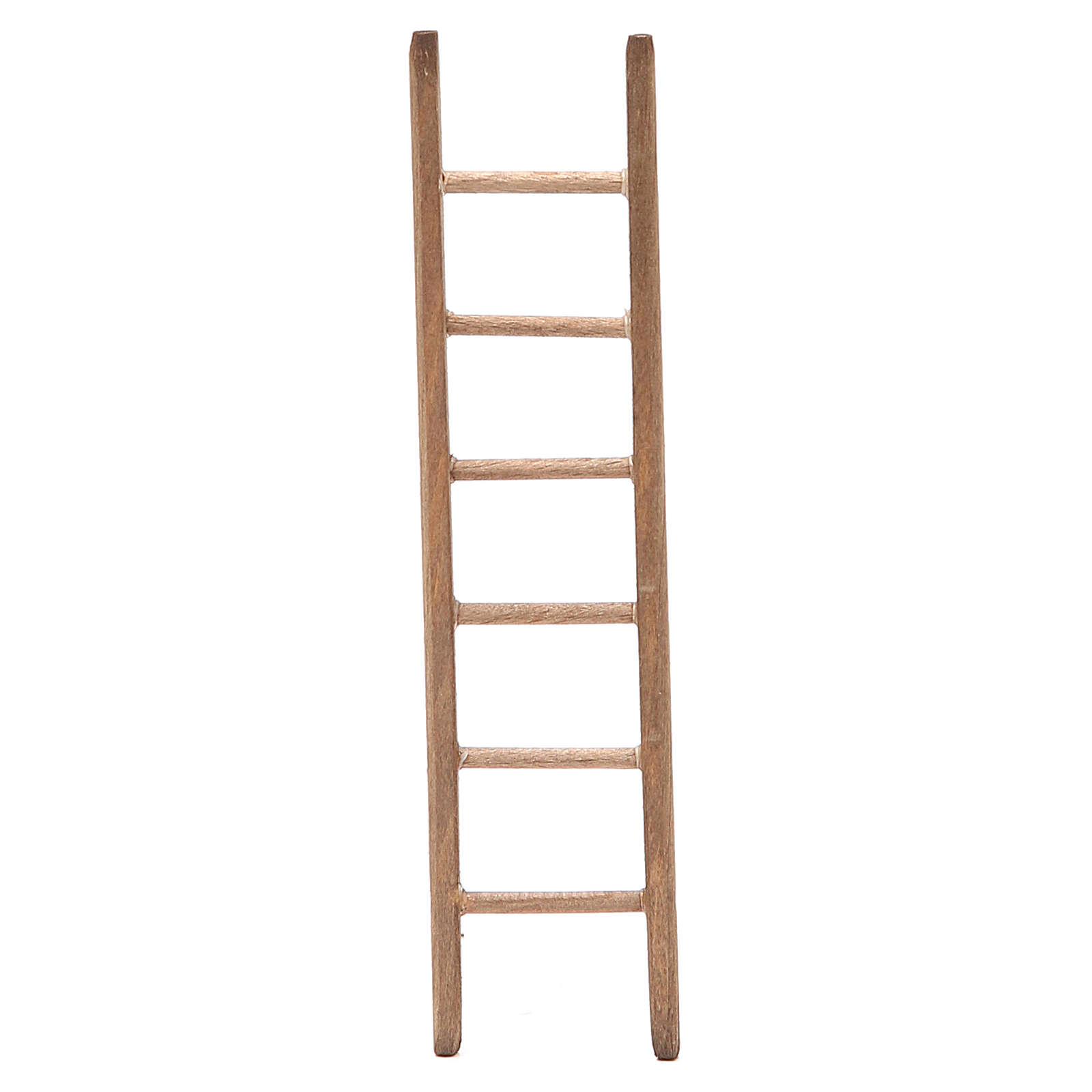 Little Ladder for nativity in dark wood h. 14x3,5cm 4