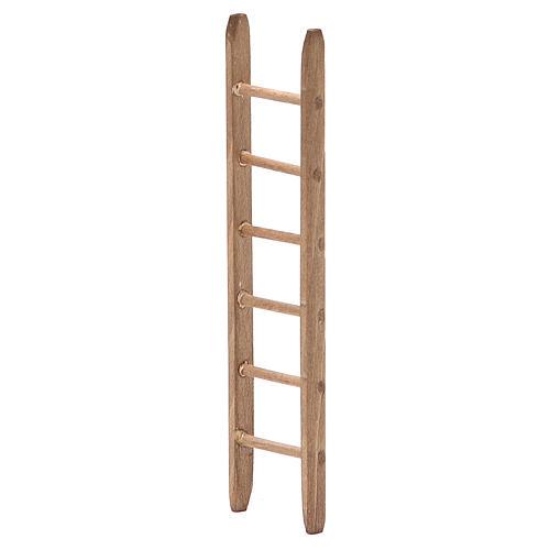 Little Ladder for nativity in dark wood h. 14x3,5cm 2