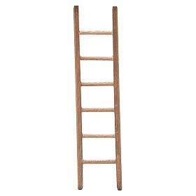 Escalera para belén de madera oscura h. 14x3,5 cm s1