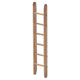 Escalera para belén de madera oscura h. 14x3,5 cm s2