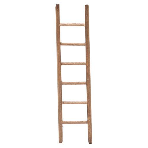 Escalera para belén de madera oscura h. 14x3,5 cm 1