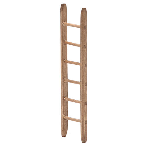 Escalera para belén de madera oscura h. 14x3,5 cm 2