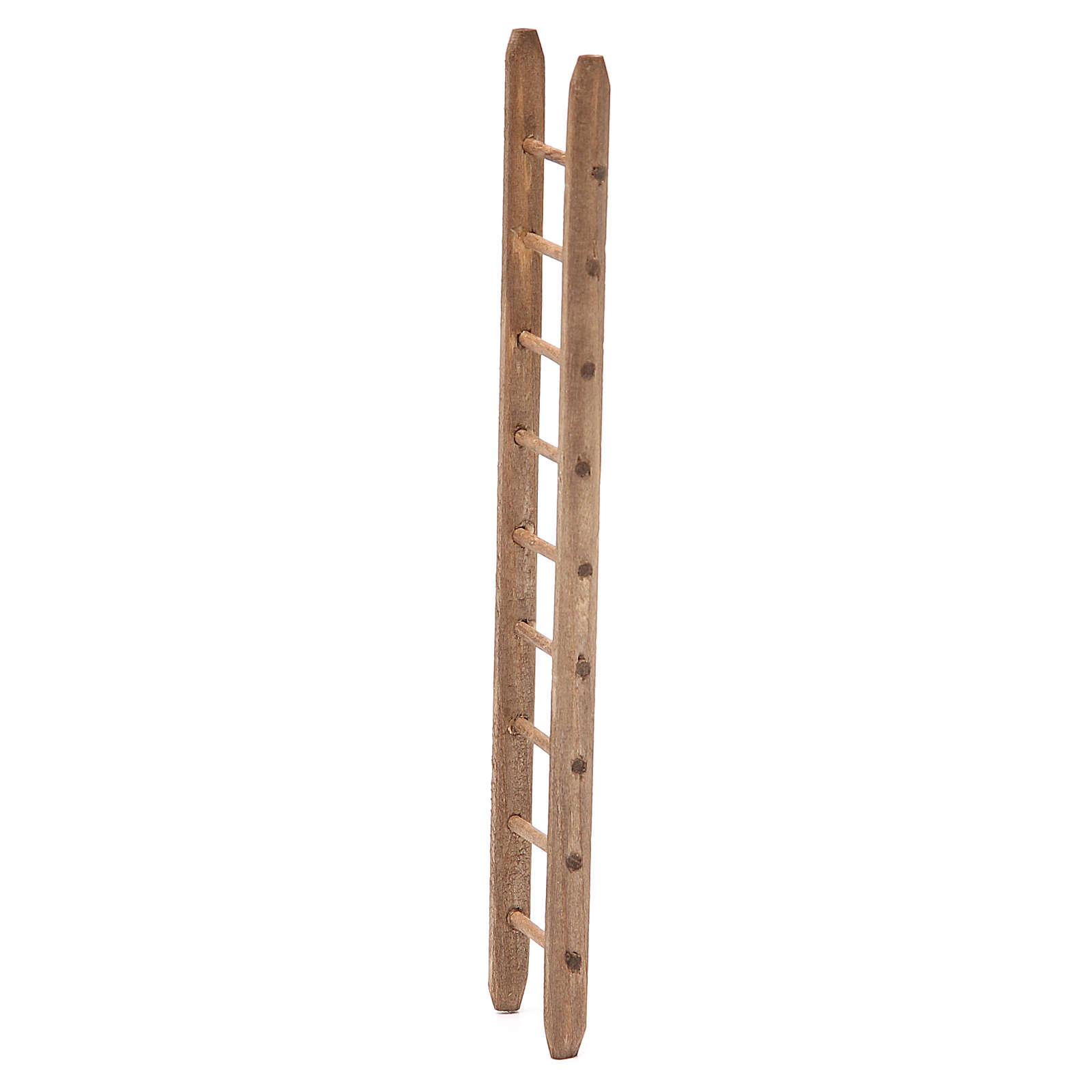 Escalera de madera oscura para belén h. 18x4 cm 4