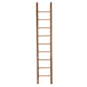 Escalera de madera oscura para belén h. 18x4 cm s1