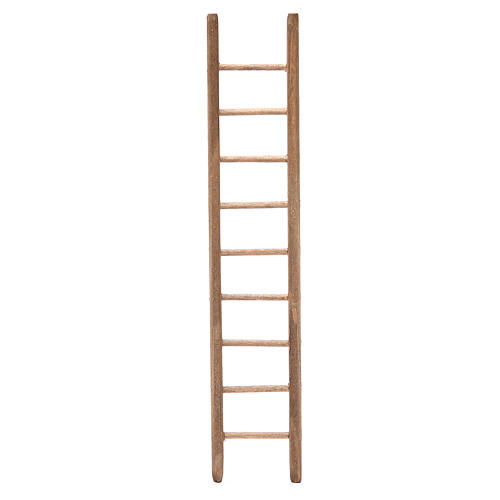 Escalera de madera oscura para belén h. 18x4 cm 1