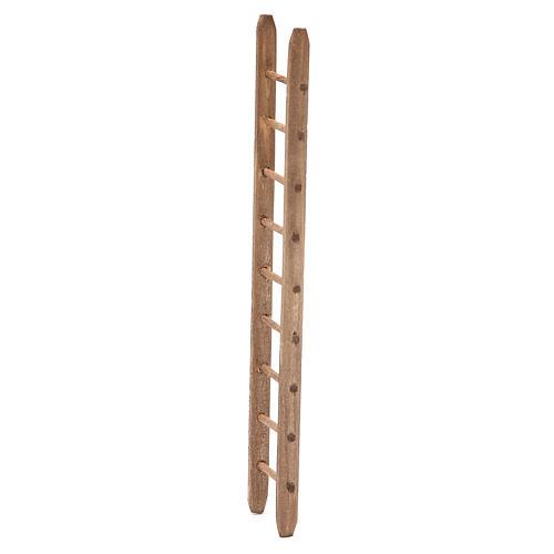 Escalera de madera oscura para belén h. 18x4 cm 2