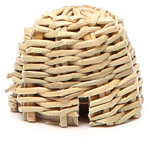 Beehive in wood and wicker for nativity h. 3,5cm 1