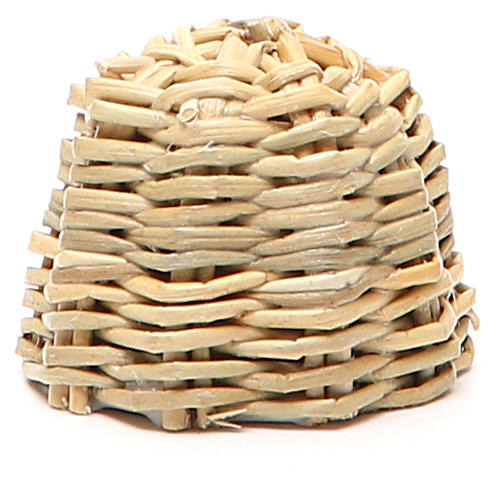 Beehive in wood and wicker for nativity h. 3,5cm 2
