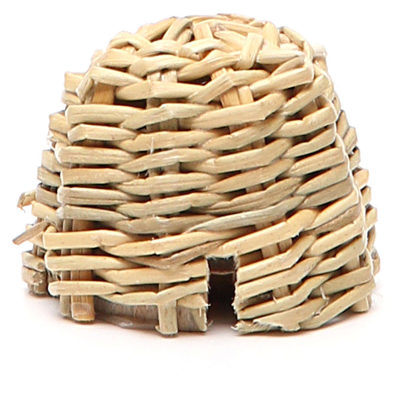 Arnia in legno e vimini presepe h. 3,5 cm 4