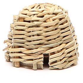 Arnia in legno e vimini presepe h. 3,5 cm s1