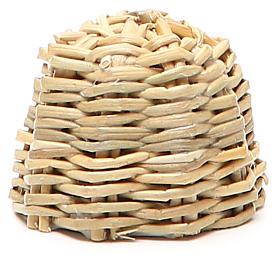 Arnia in legno e vimini presepe h. 3,5 cm s2
