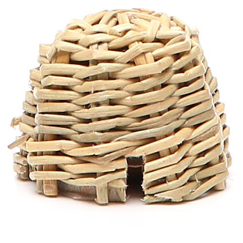 Arnia in legno e vimini presepe h. 3,5 cm 1