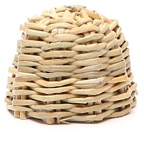 Arnia in legno e vimini presepe h. 3,5 cm 2