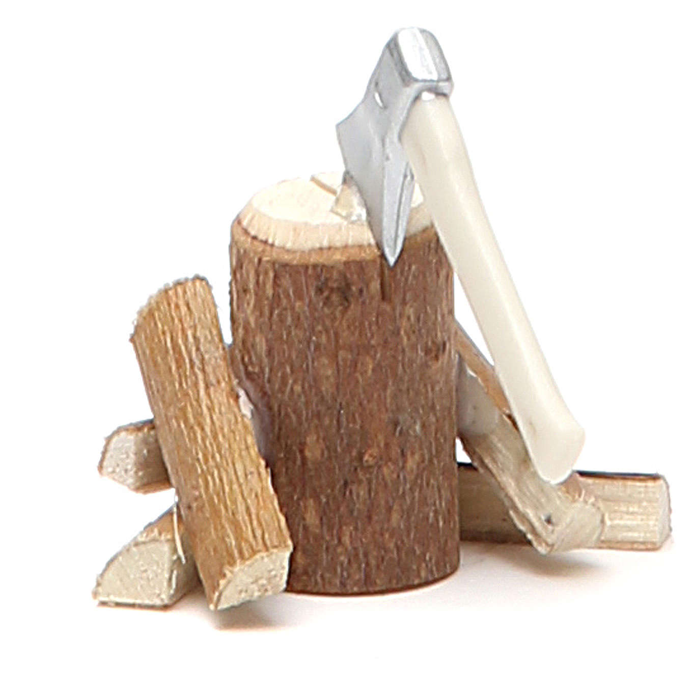 Hache avec bûches bois 4x4,5x4 cm 4