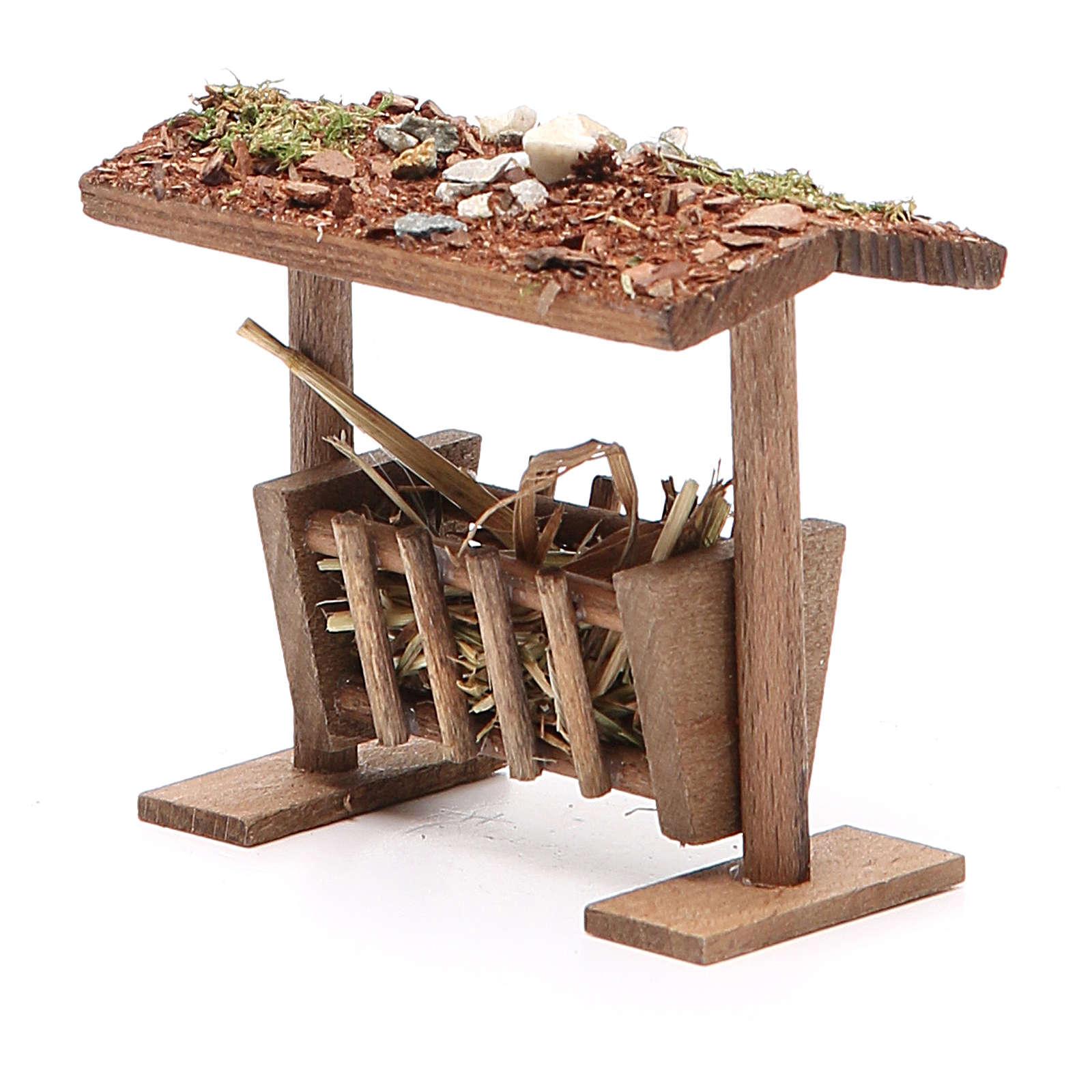 Mangeoire avec toit et foin crèche 6,5x8,5x9 cm | vente en ligne