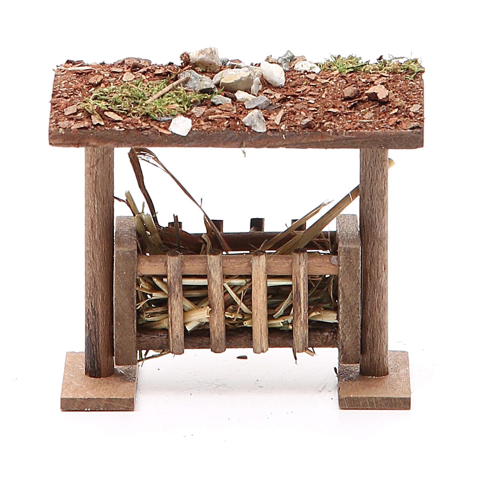 Rastrelliera con tetto e foraggio h. 6,5x8,5x9 cm 4