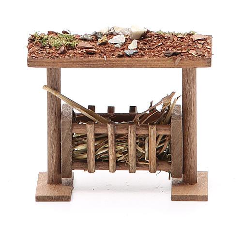 Rastrelliera con tetto e foraggio h. 6,5x8,5x9 cm 1