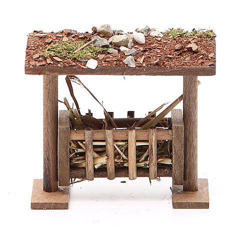 Rastrelliera con tetto e foraggio h. 6,5x8,5x9 cm 3