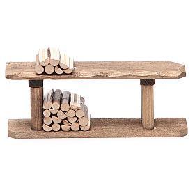 Herramientas de trabajo: Mostrador con madera h. 4x3x12 cm