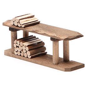 Banco con legna h. 4x3x12 cm s2