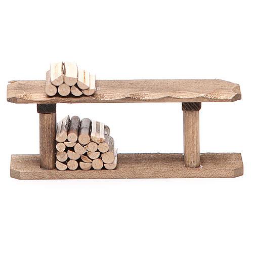 Banco con legna h. 4x3x12 cm 1