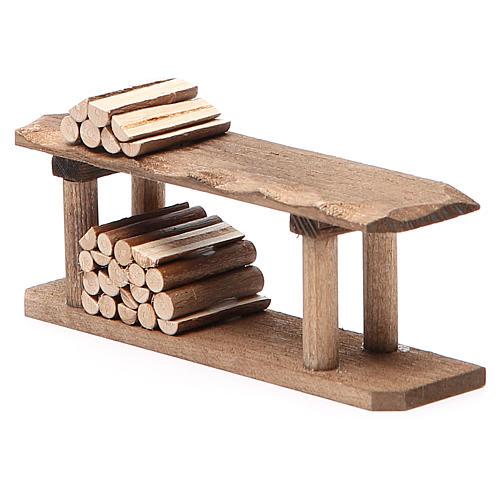 Banco con legna h. 4x3x12 cm 2
