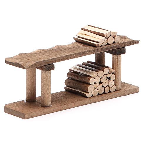 Banco con legna h. 4x3x12 cm 3