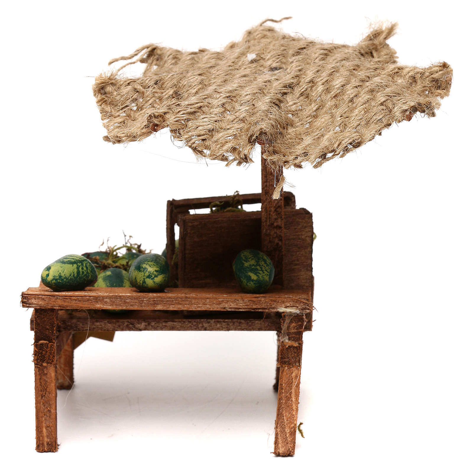 Workshop nativity with beach umbrella, watermelons 12x10x12cm 4