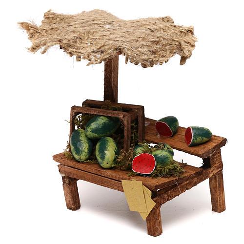 Workshop nativity with beach umbrella, watermelons 12x10x12cm 2