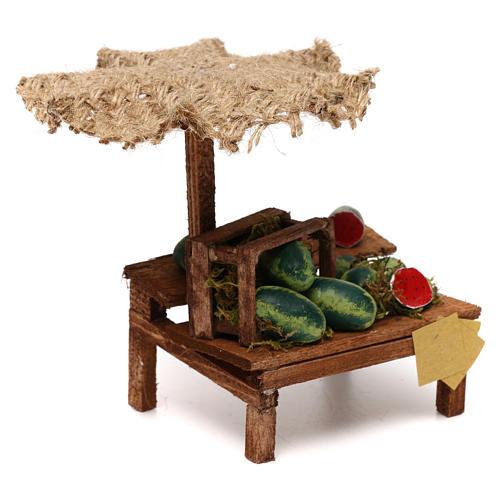 Workshop nativity with beach umbrella, watermelons 12x10x12cm 3