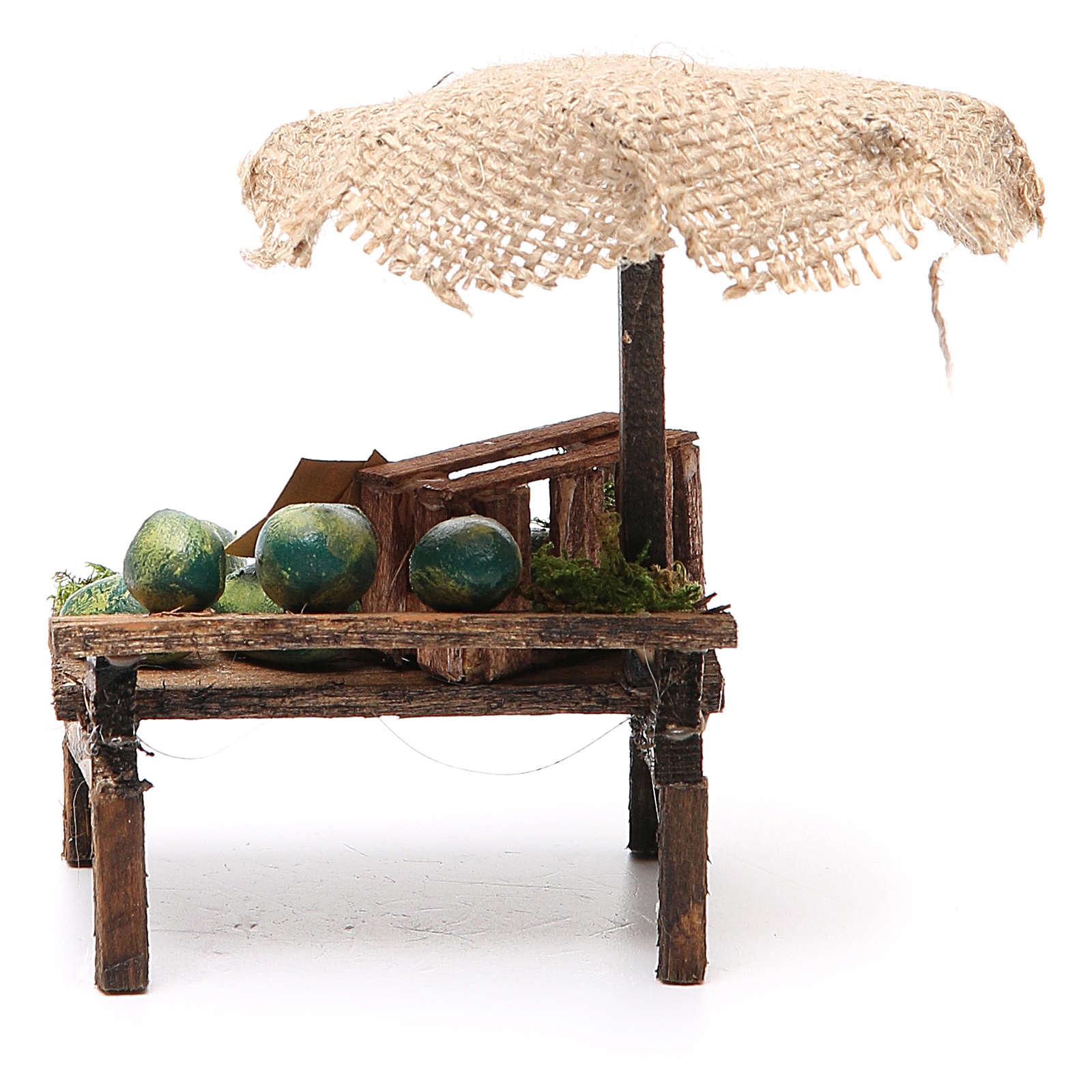 Banco presepe con ombrello angurie 12x10x12 cm 4