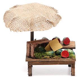 Banco presepe con ombrello angurie 12x10x12 cm s1