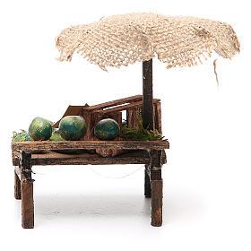 Banco presepe con ombrello angurie 12x10x12 cm s4