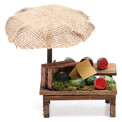 Banco presepe con ombrello angurie 12x10x12 cm 1