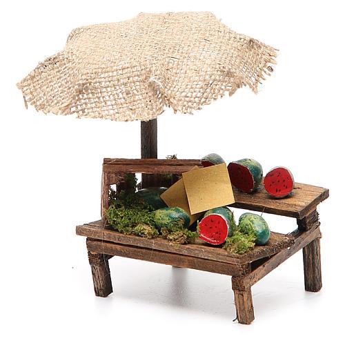 Banco presepe con ombrello angurie 12x10x12 cm 2