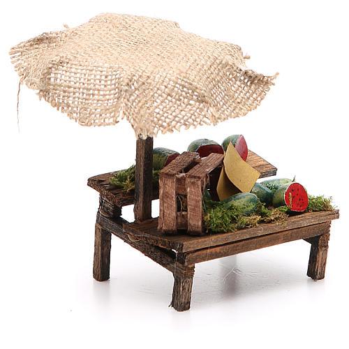 Banco presepe con ombrello angurie 12x10x12 cm 3