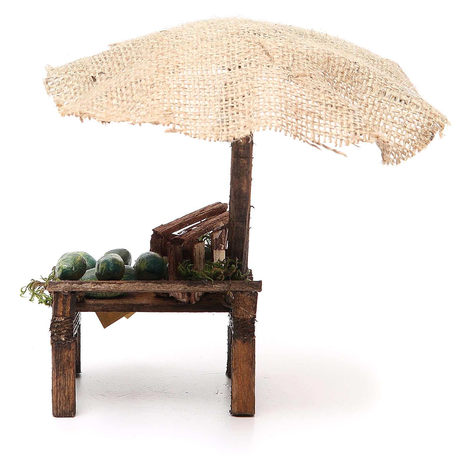 Puesto de mercado para belén con sombrilla y sandías 16x10x12 cm 4