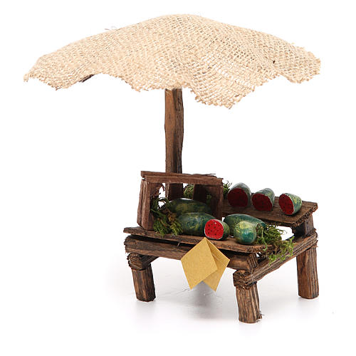 Puesto de mercado para belén con sombrilla y sandías 16x10x12 cm 2