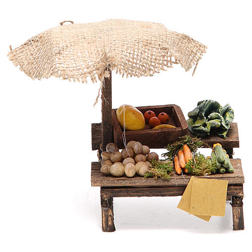 Workshop nativity with beach umbrella, vegetables 12x10x12cm 1