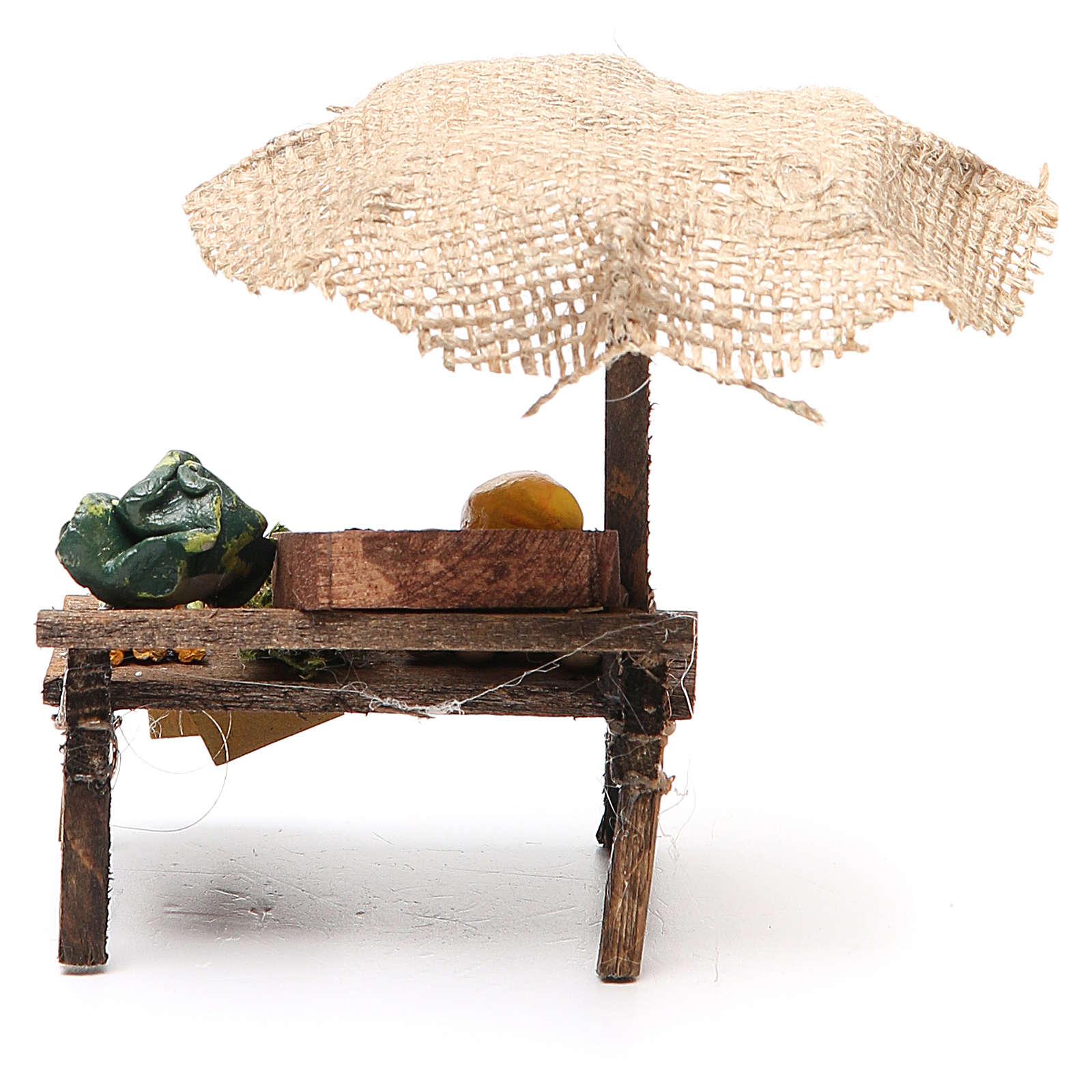 Banco presepe con ombrello verdure 12x10x12 cm 4