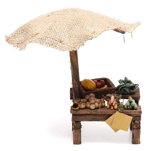 Puesto de mercado para belén con sombrilla y verduras 16x10x12 cm 1