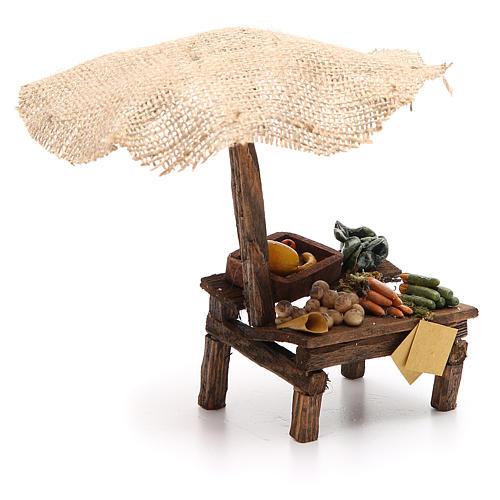 Puesto de mercado para belén con sombrilla y verduras 16x10x12 cm 3