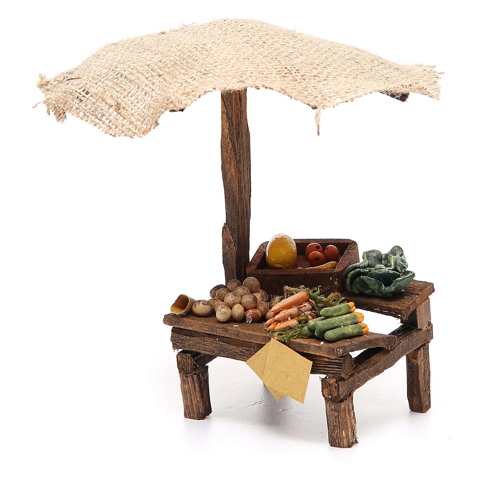 Banchetto presepe con ombrello verdure 16x10x12 cm 4