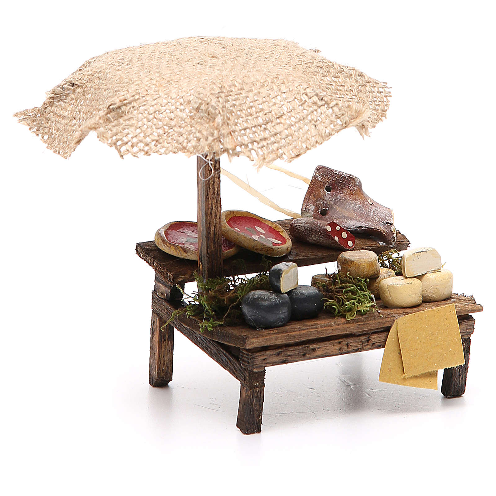 Workshop nativity with beach umbrella, pizza and cheeses 12x10x12cm 4