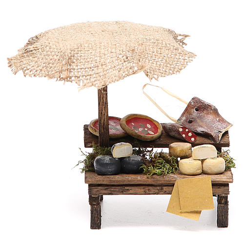 Workshop nativity with beach umbrella, pizza and cheeses 12x10x12cm 1