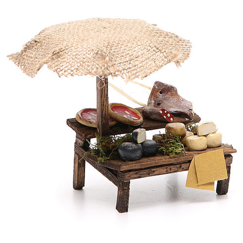 Workshop nativity with beach umbrella, pizza and cheeses 12x10x12cm 3