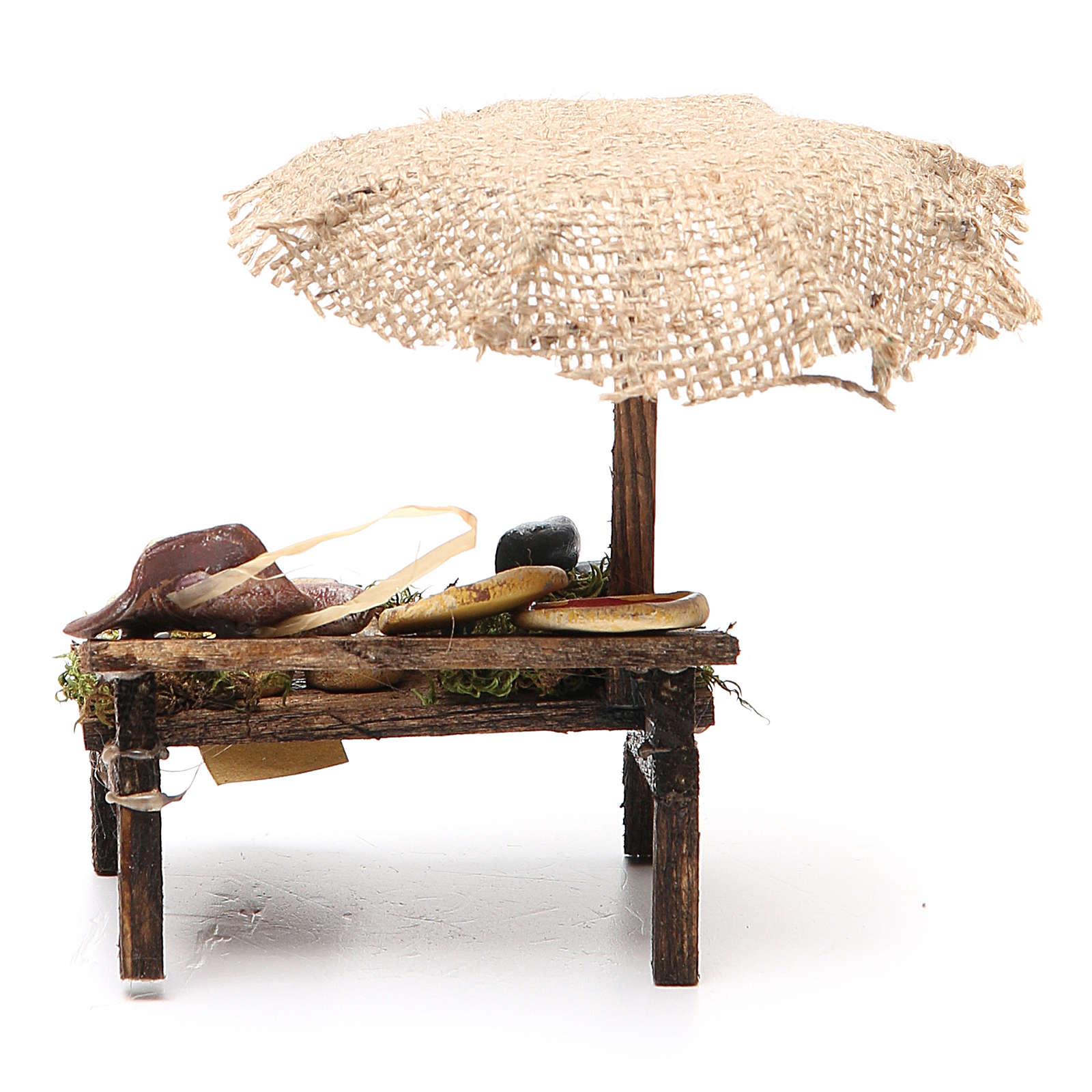 Banca presépio com chapéu-de-sol pizza queijo 12x10x12 cm 4