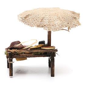 Banca presépio com chapéu-de-sol pizza queijo 12x10x12 cm s4