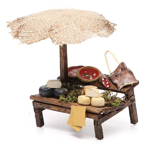 Banca presépio com chapéu-de-sol pizza queijo 12x10x12 cm 2