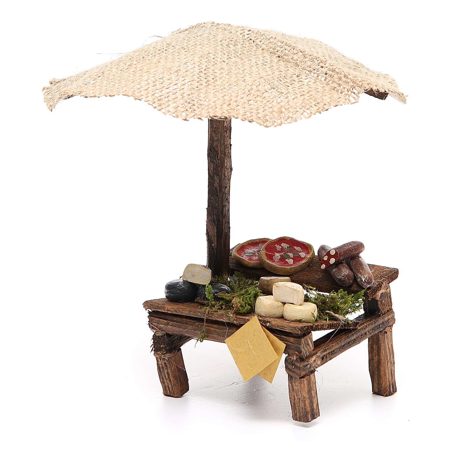 Banc crèche avec parasol et pizza fromages 16x10x12 cm 4